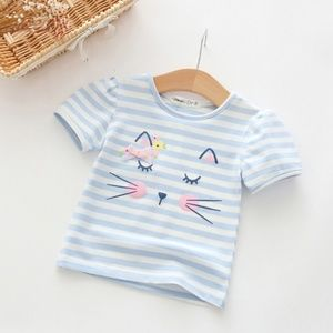 4c138c9ac3902 Girls Short Sleeve Cotton Striped Blue Tee Shirts